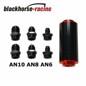 Ss An6 An8 An10 Inline Fuel Filter High Flow 100 Micron Cleanable Black Red