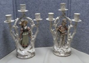 Pair Of Antique Porcelain Candelabra With Central Figures Owl W Mark