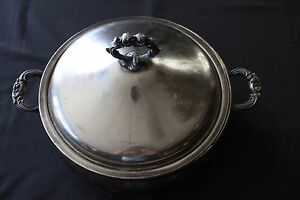 Silverplate Covered Round Casserole Dish 3 Legs English Mfg Co Usa