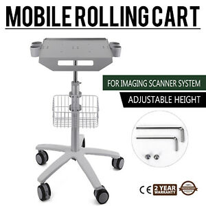 Mobile Rolling Cart For Ultrasound Scanner Machine 4 Holes Tabletop Lab Alloy