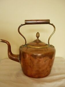 Antique Victorian Large Copper Brass Kettle