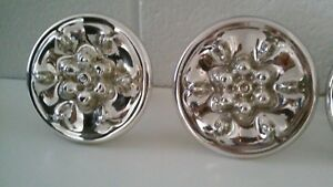 Large Antique Mercury Hand Blown Glass Curtain Tie Back Relief Flowers Set Of 2