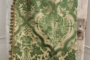 Silk Brocatelle Antique French Green Bed Curtain Hanging W Trim Brocade