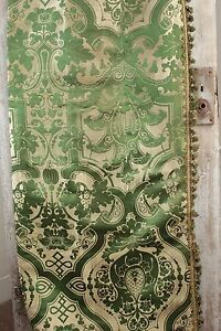 Silk Brocatelle Antique French Green Bed Curtain Hanging W Trim Brocade Old