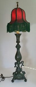 Vintage Green Patina Brass Bronze Candlestick Table Lamp Neoclassical Style