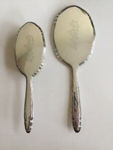 Antique Engraved Sterling Vanity Set Mirror And Brush R Blackinton