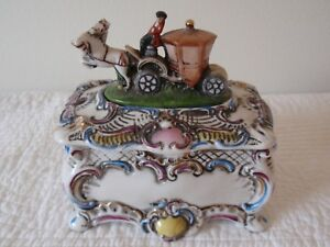 Antique Porcelain Horse Carriage Figurine Box Made In Germany 4 5