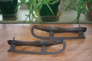 Antique 1800s Ice Skates Carved Walnut W Iron Runners Primitive Americana