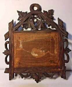 Antique Black Forest With Carved Grape Vine And Leaf One Piece Of Oak