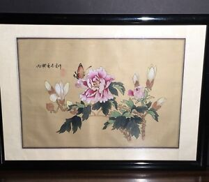 Vintage Chinese Watercolor Gouache On Silk Painting Peony Flower And Butterfly