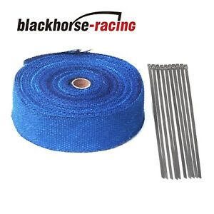 Blue 2 X 50ft 15m Exhaust Header Fiberglass Heat Wrap Tape W 10 Steel Ties