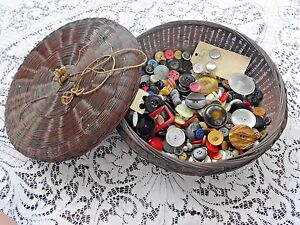 Antique Chinese Brown Bamboo Sewing Basket Filled With 14 Oz Of Antique Buttons