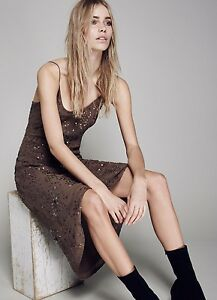 Jen s Pirate Booty Brown Sequin Beaded Crepe Maxi Dress Form Skimming L New