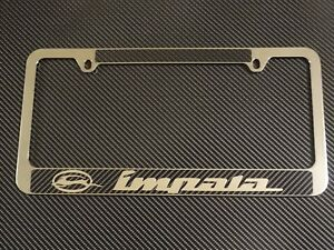 Chevy Impala Chrome Metal License Plate Frame Carbon Fiber Chrome Text