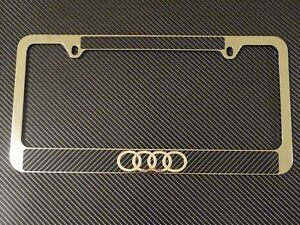 Audi Logo Chrome Metal License Plate Frame Carbon Fiber Chrome Text