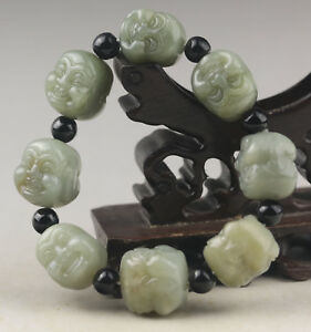China Old Natural Jade Hand Carved Jade Buddha Bracelet No F874