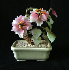 Vintage Small Chinese Carved Glass Jade Hardstone Blossom Tree Celadon Pot