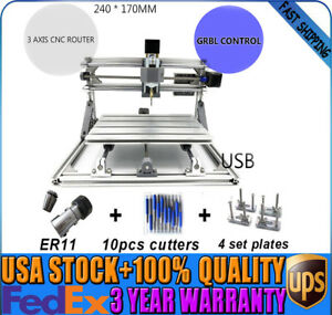 Diy Cnc2417 Mini 3axis Router Usb Carving Engraving Machine Grbl Desktop Ups