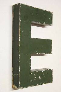 1930s Antique French Shop Letter Sign E Green Metal 10 Bar Reclaimed Industrial