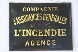 Vintage French Metal Business Sign Industrial Black Gold Cafe Bar Restaurant