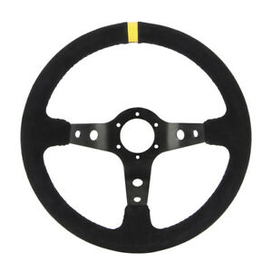 13 8 Suede Dish Racing Sport Steering Wheel Horn For Any Car New Us Shipping
