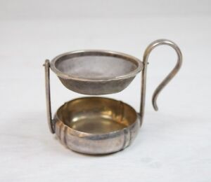 Antique Fine Silver Plated Medical Herb Herbal Cup With Strainer Medicine Device