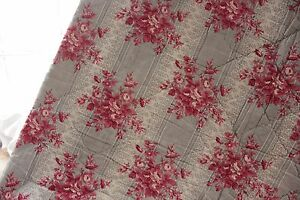Antique French Quilt 1850 Floral Pink Gray Grey Cotton Check Backing Fabric Old