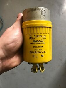 Hubbell Hubbellock Plug 60a 600v W17 With Screws And Brackets
