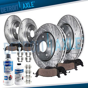 Front Rear Drill Brake Rotors Ceramic Pads For 2004 2009 2010 Toyota Sienna