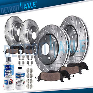 For 2004 2010 Toyota Sienna Front Rear Drilled Rotors Ceramic Brake Pads Set