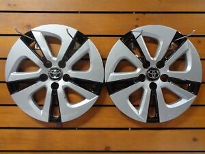 Pair 2 Silver Black 2016 2018 Toyota Prius 15 Wheel Covers Hub Caps Rim 61180