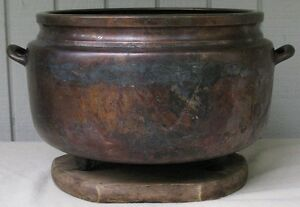 Large Old Antique Japanese Bronze Copper Silver Censer Hibachi Pot Marked