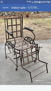 Rare Industrial Chair Vintage 1871 Wilsons Adjustable Iron Dentist Doctor Chaise