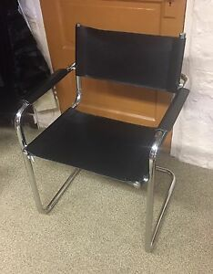 Mid Century Chair Chrome Black Leather Made In Italy Armchair Office