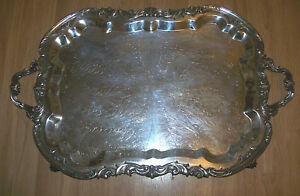 Ornate Large 29 Antique Fb Rogers 2377 Four Footed Silver Tray Trademark 1883