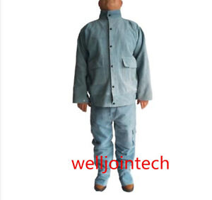 Leather Welding Blue Jacket Coat Trousers Protective Clothing Suit For Welder