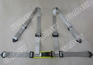 Vehicle 3 4 Point Racing Safety Harness Strap Seat Belt Bolt In Silver Gray Car