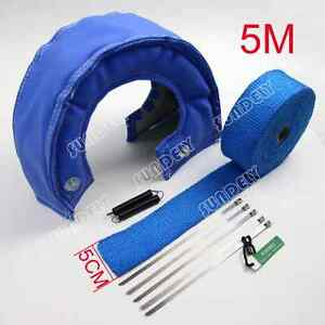 New T4 Blue Out Lava Turbo Blanket 5cm X 5m Exhaust Header Heat Pipe Wrap Tape