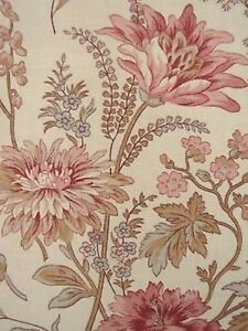 Curtain Antique French Linen Floral Fabric Drape C1910 Botanical Fabric Gorgeous