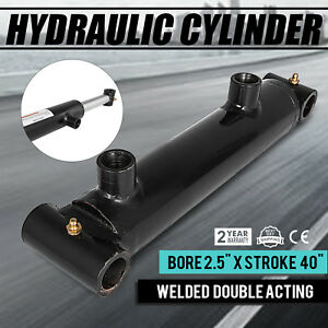 Hydraulic Cylinder Welded Double Acting 2 5 Bore 40 Stroke Cross Tube New