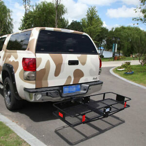 Steel Folding Cargo Carrier Luggage Basket Truck Suv Trailer Receiver Hitch Rack