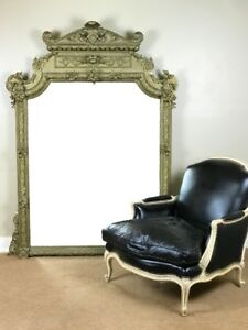 Large 77 5 Ornately Carved Antique Floor Mirror With Gold Finish Baroque Style