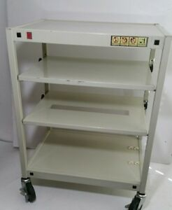 Vintage Multi purpose Bretford Metal Rolling Utility Cart W Shelves