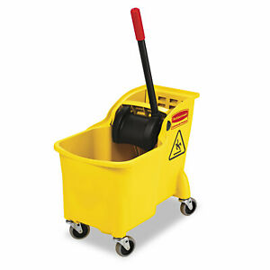 Rubbermaid Commercial Tandem 31qt Bucket wringer Combo Yellow 738000yel