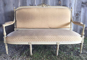Antique French Canape Settee Or Couch With Original Paint And Fine Upholstery