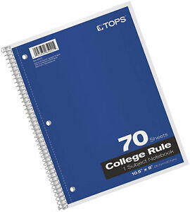 Tops 1 subject Spiral Notebooks Colle Rule 8 X 10 5 Inches 70 White Sheets