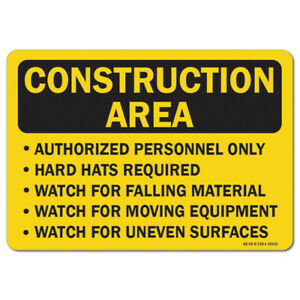 Osha Caution Sign Construction Area Authorized Personnel Only Hard Hats Requir