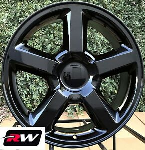 20 X8 5 Inch Chevy Truck Ltz Oe Replica Wheels Gloss Black Rims Fit Gmc Sierra