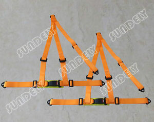 Pair 3 Point Orange Racing Seat Belt Harness Kit For Car Off Road 4x4 Hi q