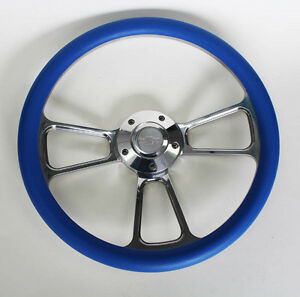 C10 C20 C30 Blazer Pick Up Blue And Billet Steering Wheel 14 Chevy Bowtie Cap